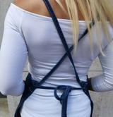riflová zástěra s překřížením na zádech