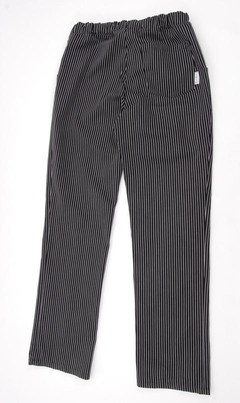 Kuchařské pánské kalhoty černé s bílým proužkem