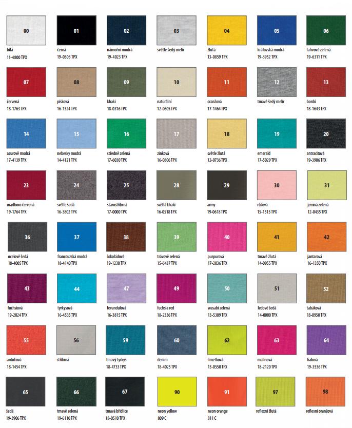 Tabulka barev pro trička
