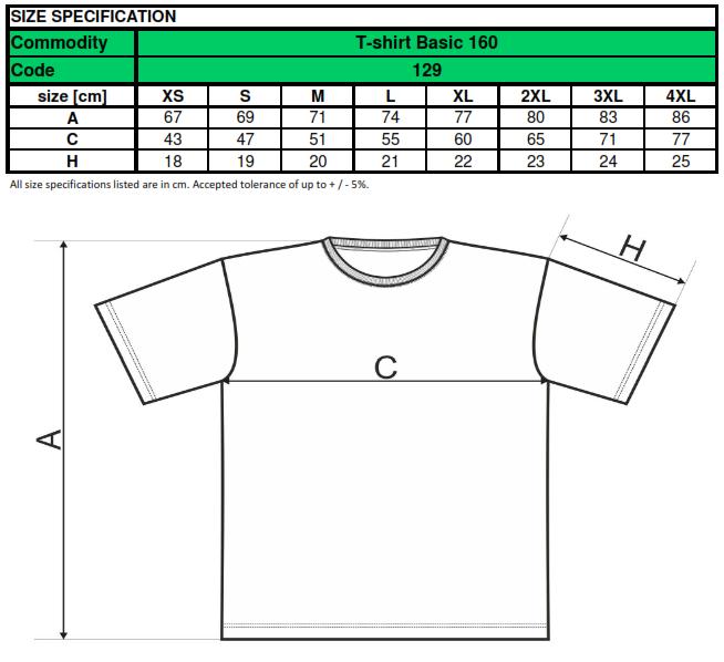 Velikost trička Basic 129